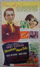 Adventures of Marco Polo, Flyer/Herald, Gary Cooper, Basil Rathbone, '40